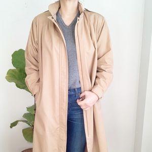Vintage Beige Hooded Trench Coat Jacket Size 12